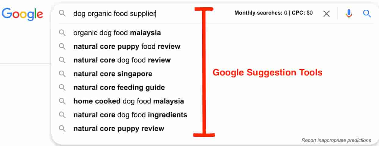 Google Suggestion Example