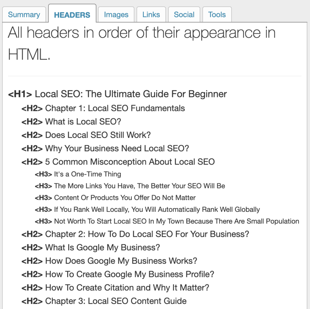 H1 and H2 Header Example
