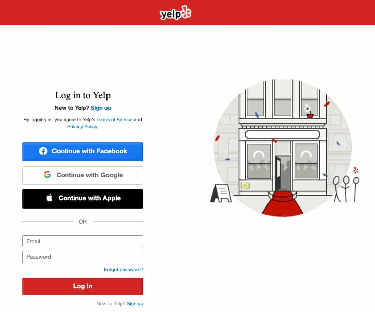 Register Yelp Page